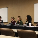 Panel at the 2019 Doctoral Symposium; from left to right: Dr. Elizabeth Bellows, Dr. Devery Ward, Dr. Stacy Holliday, Dr. Brooksie Sturdivant, JuanEs Ramirez